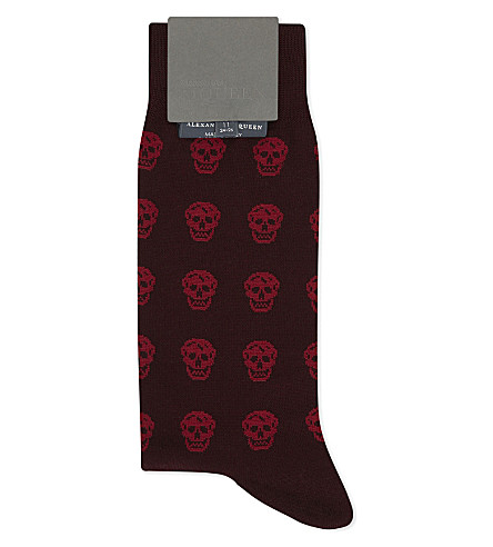 ALEXANDER MCQUEEN Skull cotton-blend socks (Red