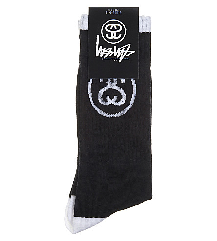 STUSSY SS Link cotton-blend crew socks (Black