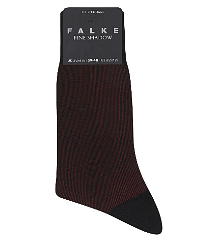 FALKE Wool and cotton-blend shadow stripe socks (Black-aqua