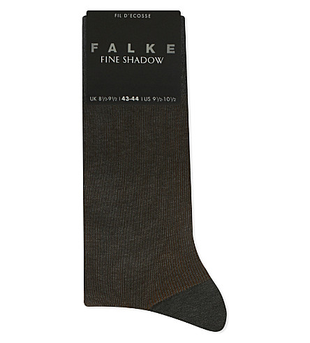FALKE Wool and cotton-blend shadow stripe socks (Grey+brown