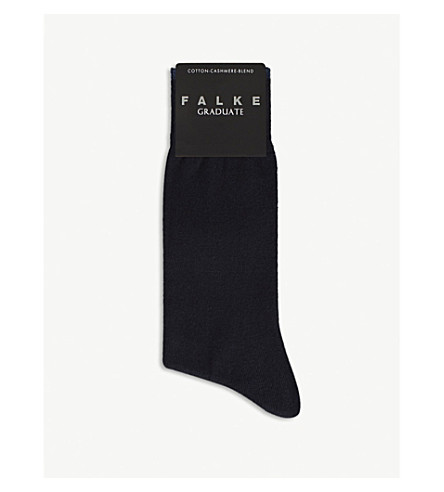 FALKE Graduate cotton-cashmere socks (Dark+navy