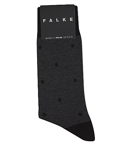 FALKE Spotted cotton socks (Anthracite+mel