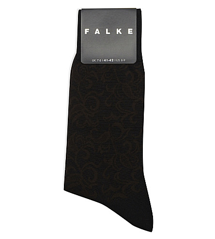 FALKE Floral wool socks (Black