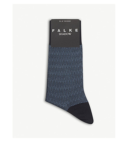 FALKE Geometric print socks (Dark+navy