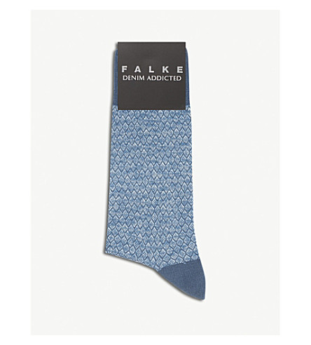 FALKE Diamond pattern cotton socks (Baltic+blue