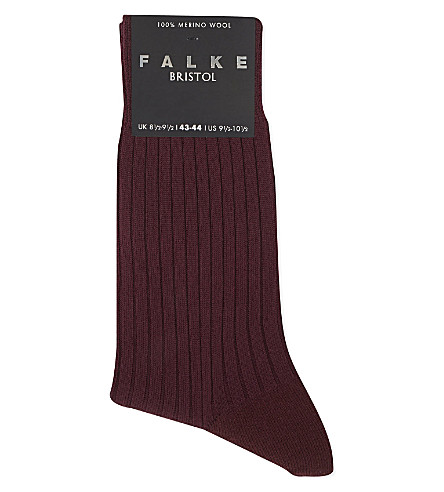 FALKE Bristol ribbed wool socks (Barolo
