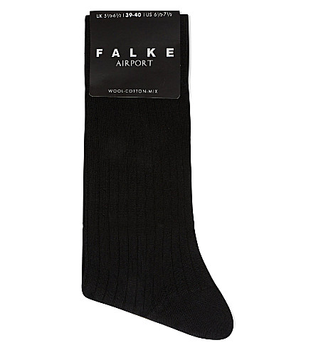 FALKE Bristol ribbed wool socks (Black