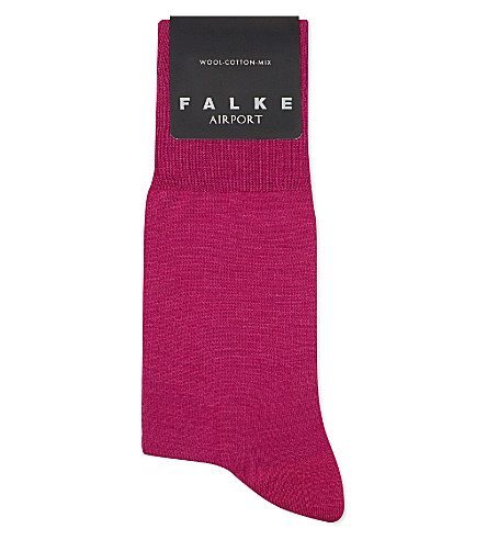 FALKE Airport wool and cotton-blend socks (Arctic+pink