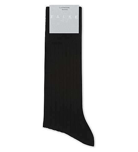 FALKE No2 ribbed cashmere socks (Black