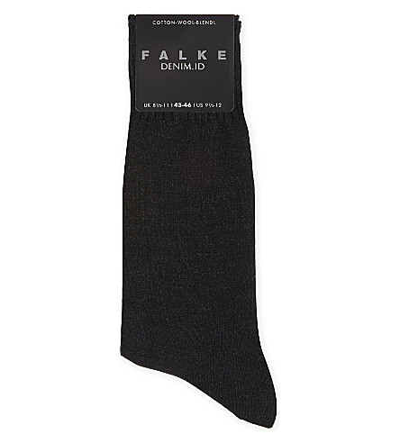FALKE Denim.ID cotton socks (Dark+grey+mel