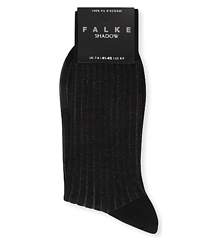 FALKE Ribbed cotton shadow socks (Black/grey