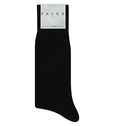 FALKE No9 pure fil d'ecoss cotton socks (Black