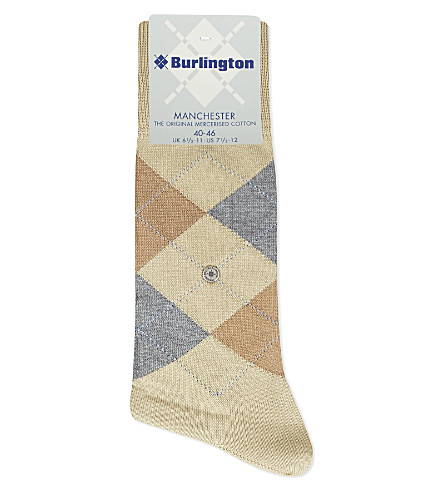 BURLINGTON Manchester cotton-blend socks (Beige+multi