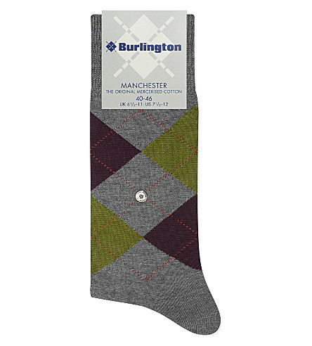 BURLINGTON Manchester cotton-blend socks (Black-neon+red