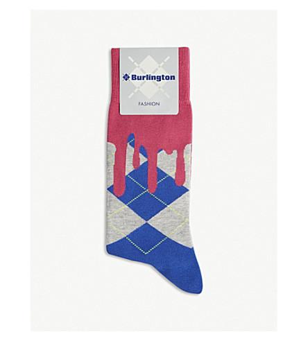 cotton Argyle Drippy socks blend BURLINGTON BURLINGTON pink Blue Drippy qw7xtCCEI