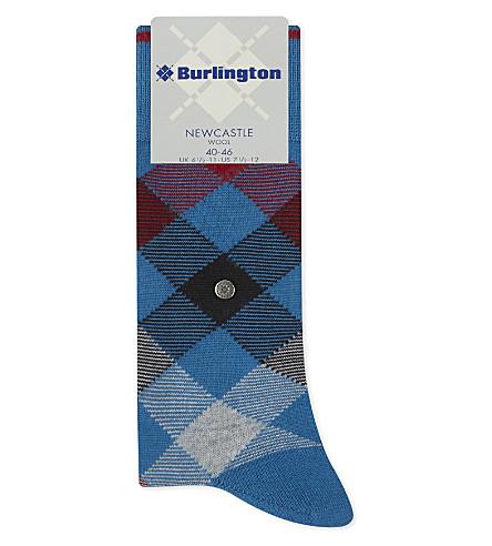 BURLINGTON 纽卡斯尔格子袜 (亮 + 蓝