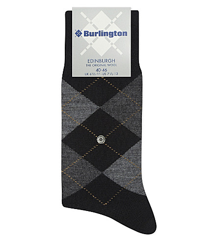 BURLINGTON Edinburgh wool-blend socks (Black