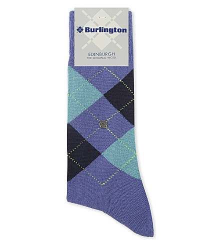BURLINGTON Edinburgh wool-blend socks (Blue+lilac
