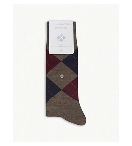 BURLINGTON Edinburgh wool-blend socks (Brown+red