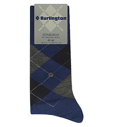 BURLINGTON 爱丁堡羊毛混纺袜 (皇家 + 蓝色
