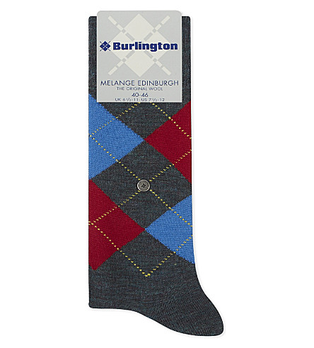 BURLINGTON Edinburgh wool-blend socks (Dark+grey