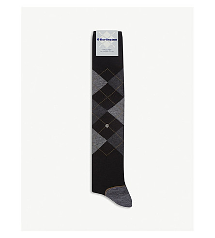 BURLINGTON Hackney cotton-blend socks (Black+grey