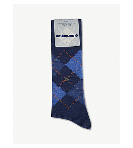 BURLINGTON Preston Argyle socks (Black+blue