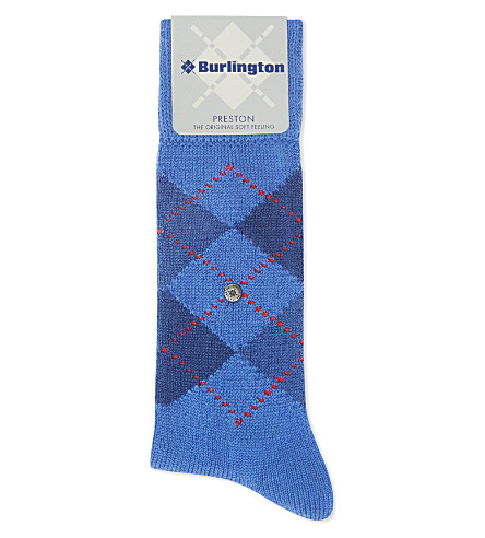 BURLINGTON Preston Argyle socks (Blue