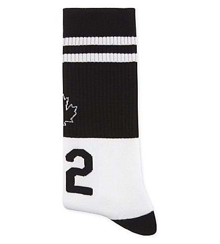 DSQUARED2 Maple Leaf ribbed socks (Black