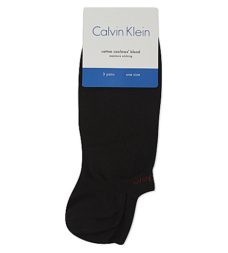 CALVIN KLEIN Pack of three cotton-blend ankle socks (Black