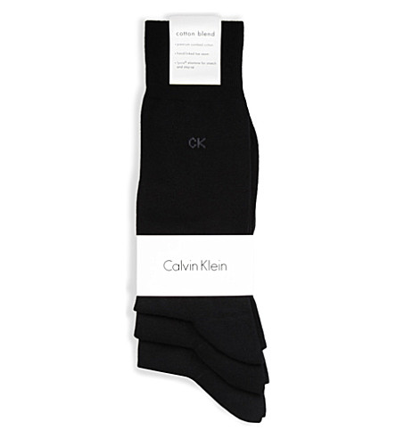 CALVIN KLEIN Pack of three flat-knit socks (Black