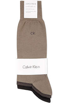 CALVIN KLEIN Pack of three flat-knit socks