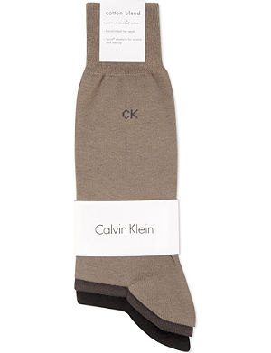 CALVIN KLEIN Pack of three flat-knit socks