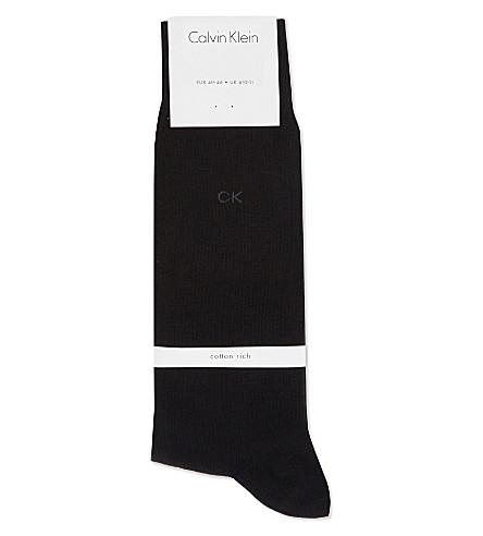 CALVIN KLEIN Liam flat-knit cotton socks (Black