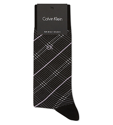 CALVIN KLEIN Striped fil d'Ecosse cotton socks (Blk+ash+lav