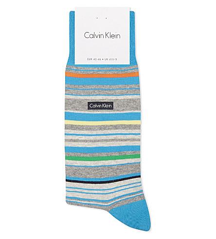 CALVIN KLEIN Barcode stripe combed cotton ankle socks (Brt+blue+multi