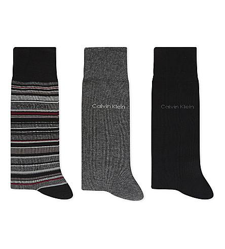 CALVIN KLEIN Pack of three crew socks (Black+multi