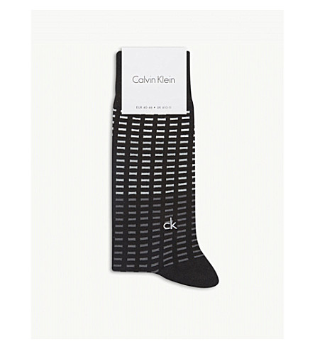 CALVIN KLEIN Dash-print cotton-blend socks (Black