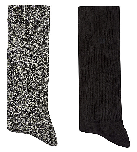 CALVIN KLEIN Combed cotton socks pack of two (Black+mix
