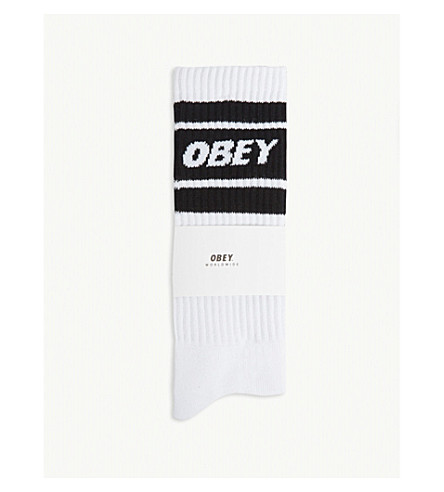 OBEY Original logo ribbed cotton socks (White+black