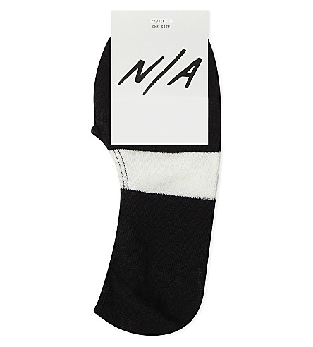 N/A Stripe cotton-blend trainer socks (Black