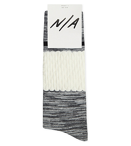 N/A Textured cotton-blend socks (Mel+gry+wht