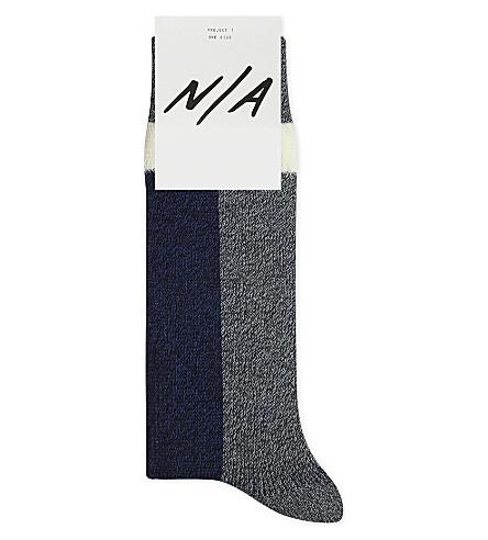N/A Block stripe cotton-blend socks (Navy