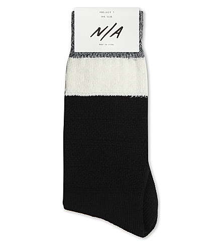 N/A Textured cotton-blend socks (Blk+wht+gry