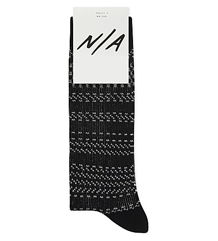 N/A Zigzag cotton-blend socks (Black
