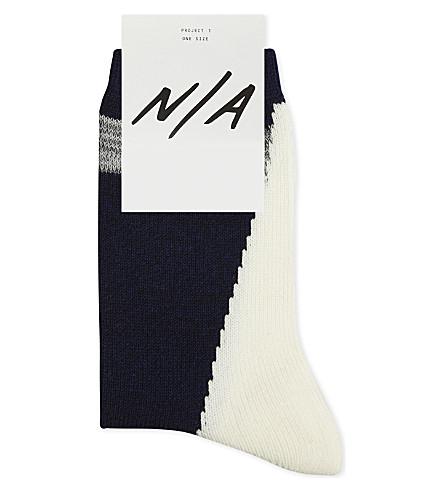 N/A Diagonal print cotton-blend socks (Navy+white