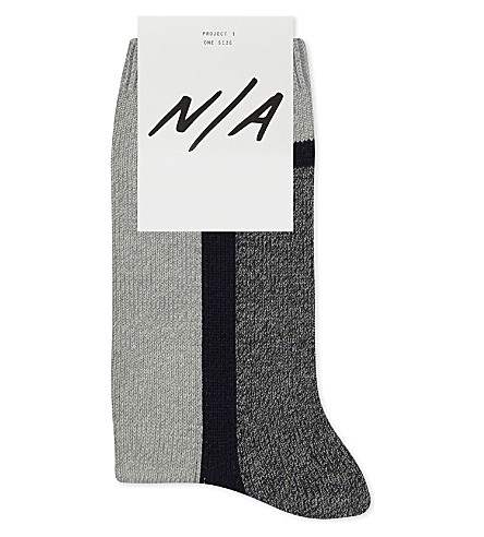 N/A Block stripe cotton-blend socks (Blue