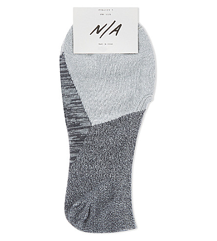 N/A Block panel cotton ankle socks (Grey