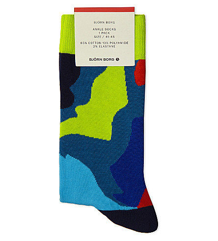 BJORN BORG Cotton-blend ankle socks (Blu+lime