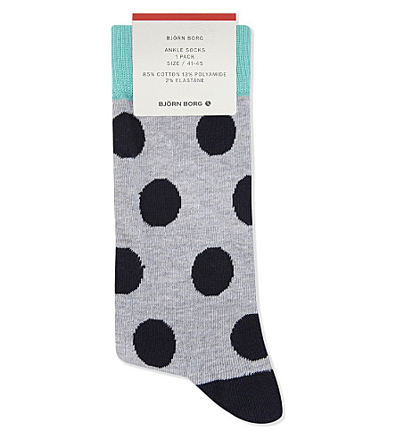 BJORN BORG Cotton-blend striped ankle socks (Blk+gry